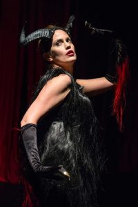 """Juliana Francis Kelly as The Devil in """"Feather Gatherers"""". Photo by Russ Rowland."""