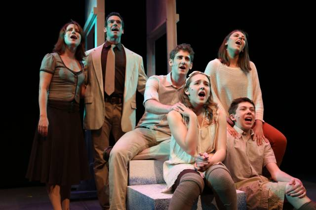 "Katy Blake, Joe Paparella, Ryan Jesse, Susanna Rizzo, Maya Brettell,  and Ethan Haberfield in ""Coming of Age"". Photo credit: Raul Barcelona."