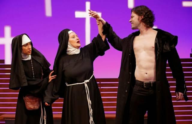 "Tasha Guevara,  Brenda Currin,  and Dana Watkins in Albert Innaurato's ""Doubtless.""  Photo Credit: Carol Rosegg."