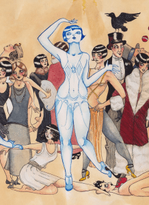 "Detail of Carolyn Raship's ""The Louise Brooks Triptych, Part 1"", 2013"