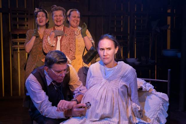 "Dennis Gagomiros, Erin Treadway & Lynne McCollough with Cynthia Babak, Michael Huston & Amy Bizjak in  ""The Twelfth Labor."" Photo by Hunter Canning."