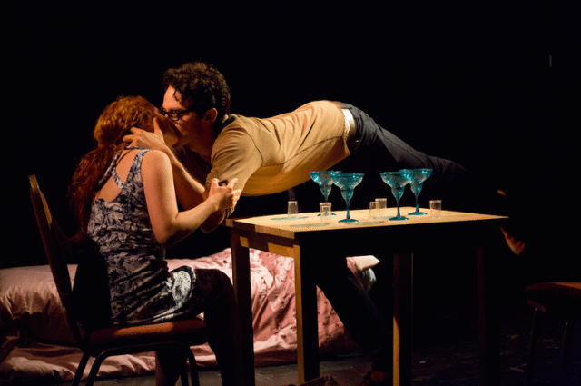 Gianmarco Soresi and Laura Catalano in <50% at FringeNYC. Photo by Hunter Canning.