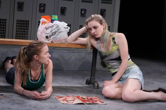 """Tina Ivlev and Sarah Mezzanotte in """"Dry Land.""""  Photo by Crystal Arnette."""