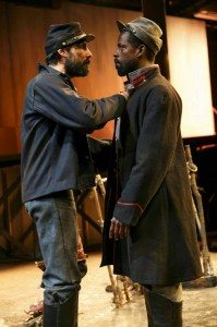 Louis Cancelmi and Sterling K. Brown in Father Comes Home from the Wars (Parts 1, 2 & 3). Photo credit: Joan Marcus.