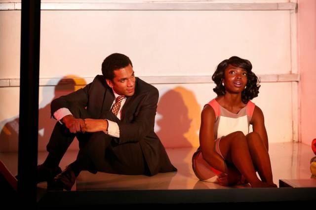 "Biko Eisen-Martin and MaameYaa Boafo in Walter Mosley's ""Lift"" at 59E59 Theaters. Photo by Carol Rosegg"