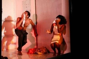 "Biko Eisen-Martin and MaameYaa Boafo in Walter Mosley's ""Lift."" Photo by Carol Rosegg."
