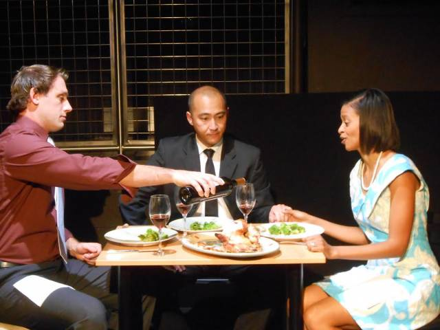 "Topher Mikels, Don Castro, and Carmen Gill in ""Turning the Glass Around."""