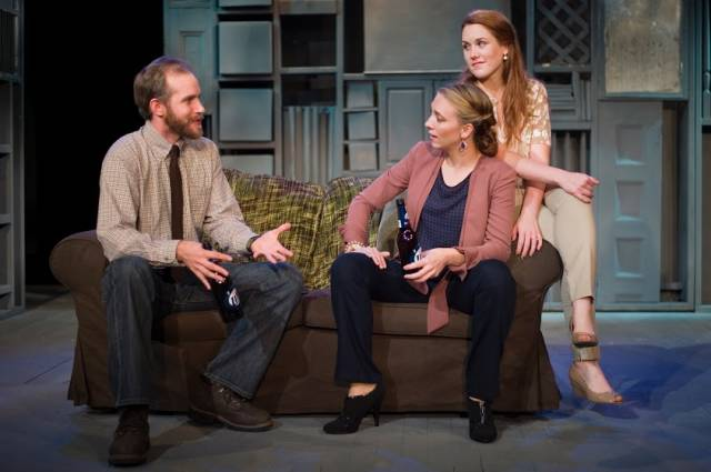 "Zac Hoogendyk, Mel House, and Emily Koch in APAC's ""In The Bones"".  Photo by Michael Dekker."
