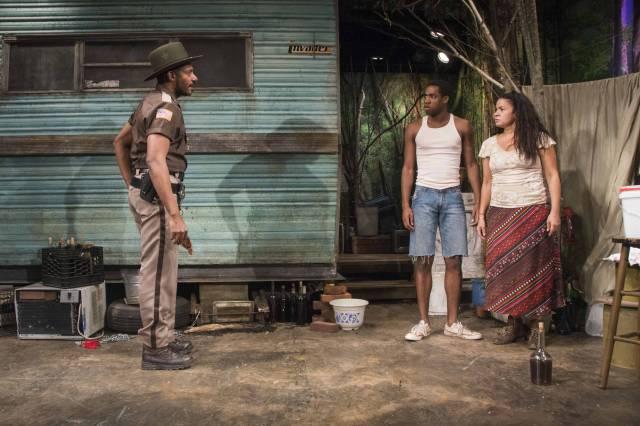 "Billy Eugene Jones, Maurice Williams, and Yvette Ganier in ""Pitbulls"". Photo by Monica Simoes."