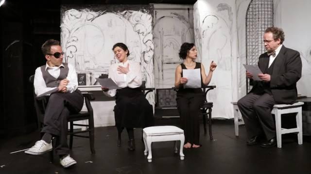 Tony Greenleaf as James Joyce, Roxann Kraemer as Nora Joyce, Erika Salazar as Lucia Joyce, Greg Horton as Samuel Beckett. Photo by Jonathan Slaff.