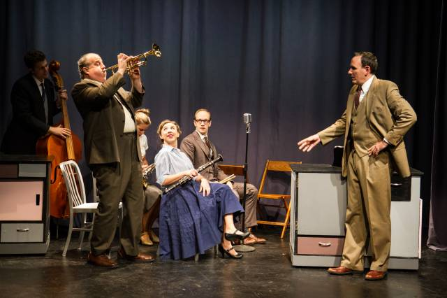 "The Quintette: Eric Wright, Tyler Bunch, Hanley Smith, Clare McNulty, Spencer Lott, and Erik Lochtefeld (Raymond Scott) in ""Powerhouse."" Photo by Justin Khalifa."