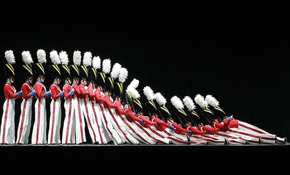 """The Rockettes in the """"Parade of the Wooden Soldiers"""" in the Radi"""