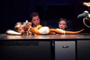 "Hanley Smith, Eric Wright, Clare McNulty (Otter puppeteers) in ""Powerhouse."" Photo by Justin Khalifa."