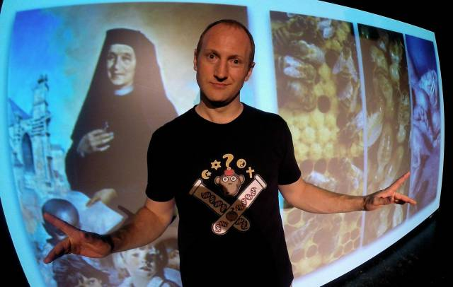 """Baba Brinkman in """"The Rap Guide to Religion."""" Photo credit: Rudy Miller."""
