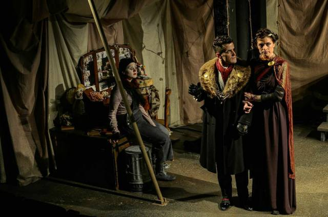 Kerry Kastin, Vince Gatton, and Gretchen Egolf in TITUS ANDRONICUS at HERE, produced by the New York Shakespeare Exchange. Photo by Kalle Westerling