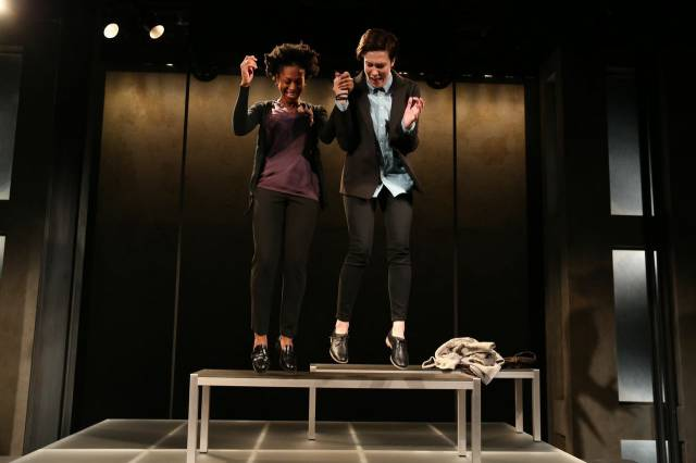 "Rachael Holmes and Rebecca Henderson in ""Bright Half Life."" Photo credit: Joan Marcus."