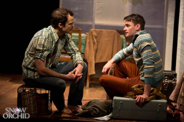 Stephen Plunkett as Sebbie and David McElwee as Blaise in SNOW ORCHID. Photo Credit: Jeremy Daniel