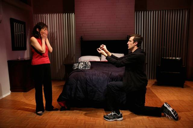 Bryce Ryness and Pearl Sun in LONG STORY SHORT at 59E59 Theaters. Photo by Matthew Murphy