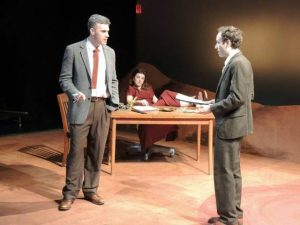 Jordan Kaplan, Amelia Mathews, and Josh Doucette in Irreversible. Photo courtesy of Red Fern Theatre Company.