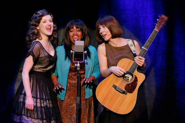 Sylvie Davidson, Jennifer Leigh Warren and Jamie Drake in LONESOME TRAVELER at 59E59 Theaters. Photos by Carol Rosegg