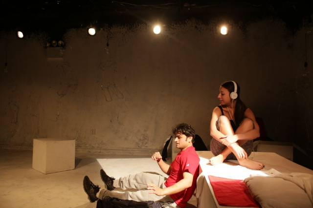 "Priyank Rastogi and Jaz Zepatos in ""Gruesome Playground Injuries."" Photo credit: Chananun Chotrungroj."