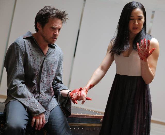 Rob Campbell and Jennifer Ikeda in The Public's Mobile Shakespeare Unit production of Macbeth.  Photo Credit: Joan Marcus.