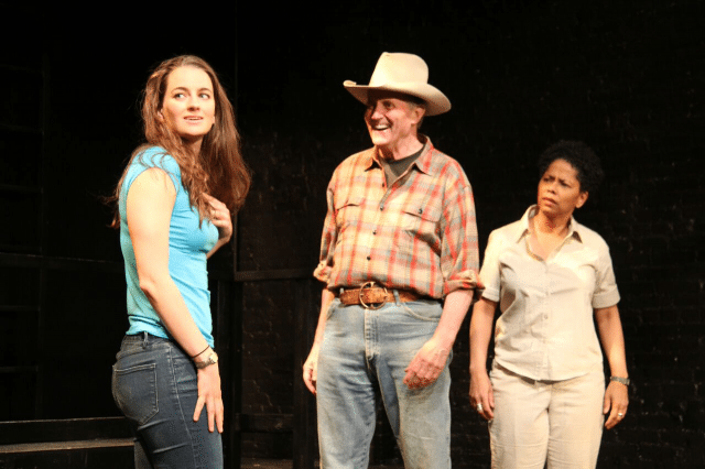 Jessica DiGiovanni (Melissa Golden), Stephen Bradbury (cowboy Clyde Clark) and Kim Sykes (Melba Abraham).  Photo credit: Margaret Purcell.