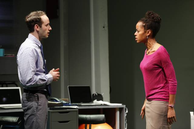 Josh Doucette and Patrice Bell in OFFICE POLITICS. Photo credit: Carol Rosegg