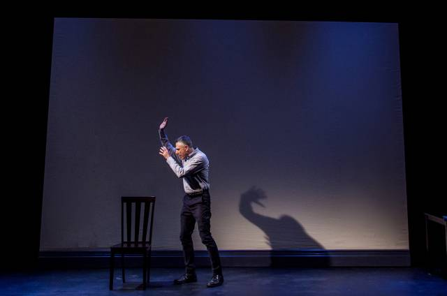 "David Greenspan in his new solo work, ""Composition…Master-Pieces…Identity"" presented by Target Margin Theater. Now in performance through June 27, 2015 at The Connell Theater. Photo credit: Erik Carter."
