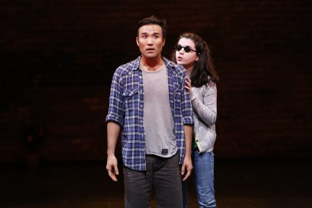 "Marc de la Cruz and Zoe Wilson in ""Three Days to See."" Photo credit: Carol Rosegg."