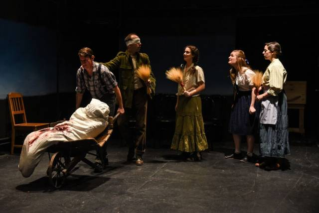 Joshua Everett Johnson, Joe Jung, Alexandra Perlwitz, Alicia Dawn Bullen, and Jessi Blue Gormezano in Unity (1918), written by Kevin Kerr, directed by KJ Sanchez, and produced by Project: Theater. Photo by Russ Rowland