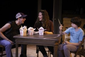 """Josh Grisetti, Kathy Cates, in """"The Crack in the Ceiling."""" Photo credit: Andrew Barry Fritz."""