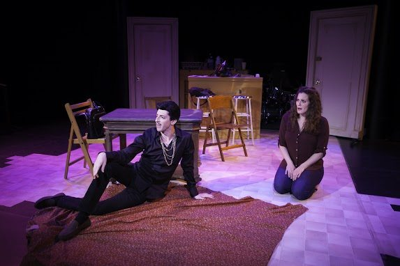 """Josh Grisetti and Kathy Cates in """"The Crack in the Ceiling."""" Photo credit: Andrew Barry Fritz."""