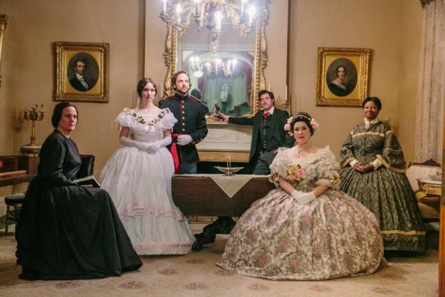 """Karis Wiggins, Maya Dwyer, Darian Sundberg, Ryan Santiago, Kate Huddleston, Karin Franklin-King in """"Lincoln's Blood."""" Photo: Amelia Beamish"""