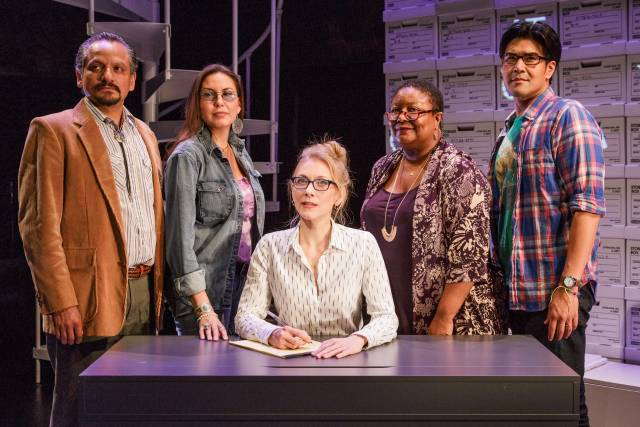 Jesse J. Perez, DeLanna Studi, Tina Benko, Myra Lucretia Taylor, and Pun Bandhu in the Primary Stages and Ensemble Studio Theatre/Alfred P. Sloan Foundation production of Informed Consent by Deborah Zoe Laufer, directed by Liesl Tommy, at Primary Stages at The Duke on 42nd Street.  (c) 2015 James Leynse.