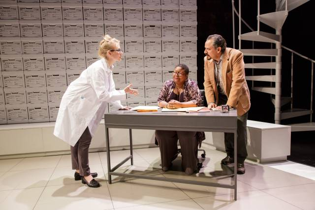 Tina Benko, Myra Lucretia Taylor, and Jesse J. Perez in the Primary Stages and Ensemble Studio Theatre/Alfred P. Sloan Foundation production of Informed Consent by Deborah Zoe Laufer, directed by Liesl Tommy, at Primary Stages at The Duke on 42nd Street. (c) 2015 James Leynse.