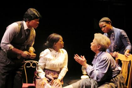 SONGS OF THE HARLEM RIVER - Michael Jones, Michele Cannon, Carol Carter and Jessie Jordan in Xoregos Performing Company's Songs of the Harlem River, presented from August 30 to September 6 by Theater for the New City's 2015 Dream up Festival. Photo by Aurelie Camus