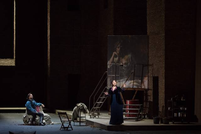 Roberto Aronica as Cavaradossi and Oksana Dyka in the title role of Puccini's Tosca. Photo by Marty Sohl/Metropolitan Opera.