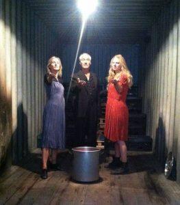 Yvonne Brecht, Matt Mitler and Megan Bones in Dzieci Theater Company's MAKBET. Photo by Thea Garlid.