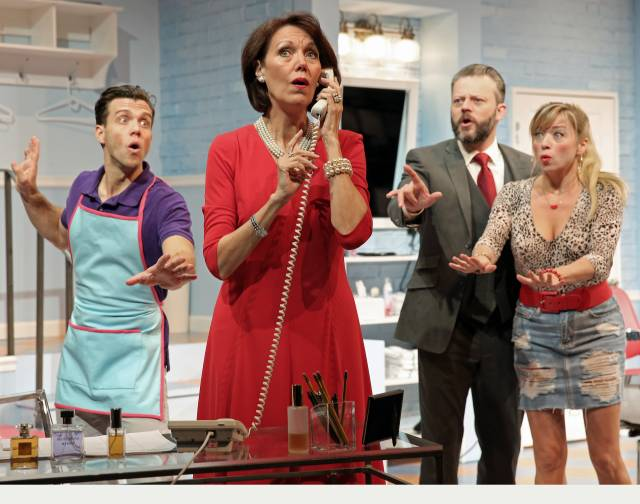 Pictured in a scene from SHEAR MADNESS: Jordan Ahnquist, Lynne Wintersteller, Jeremy Kushnier, and Kate Middleton. Photo Credit: Carol Rosegg