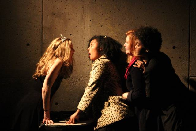 Blair Busbee, Mieko Gavia, Jody Christopherson, Ayesha Jordan in The Reenactors. Photo credit: Zen Lael