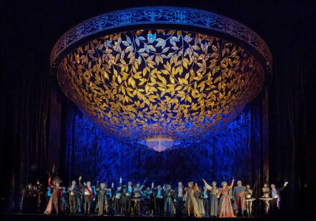"A scene from Act 2 of Johann Strauss, Jr.'s ""Die Fledermaus."" Photo: Ken Howard/Metropolitan Opera"
