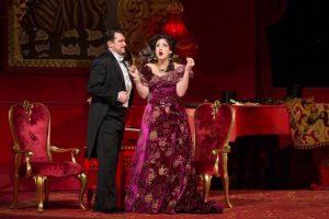 "Susanna Phillips as Rosalinde and Paulo Szot as Dr. Falke in Johann Strauss, Jr.'s ""Die Fledermaus."" Photo: Marty Sohl/Metropolitan Opera"