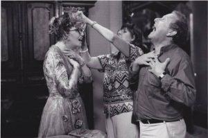 Director Jonathan Lynn rehearsing Eileen Brennan's scream with her.