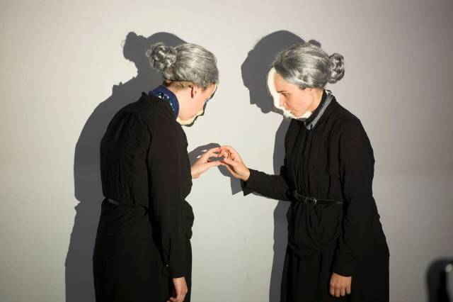 Julia Miller, Lizi Breit in ADA/AVA at 3LD Art and Technology Center, created by Manual Cinema. Photo by Howard Ash.