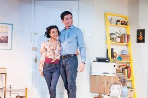 "Nandita Shenoy and Johnny Wu in ""Washer/Dryer"" at the Beckett Theater at Theater Row. Photo: Isaiah Tanenbaum"