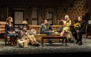 """L-R: Taissa Farmiga, Ed Harris, Rich Sommer, Amy Madigan, Larry Pine in Sam Shepard's """"Buried Child,"""" directed by Scott Elliott, Off-Broadway at The New Group. Photo credit: Monique Carboni."""