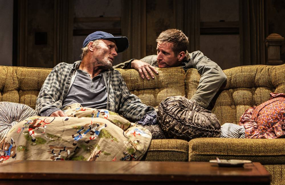 """Ed Harris and Paul Sparks in Sam Shepard's """"Buried Child,"""" directed by Scott Elliott, Off-Broadway at The New Group. Photo credit: Monique Carboni."""
