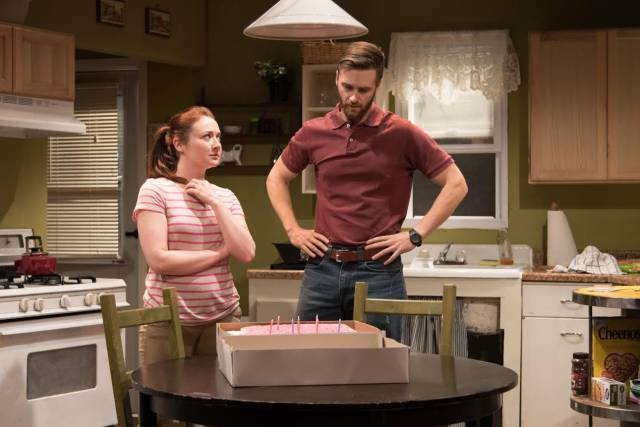Vanessa Vache as Amber and Alex Grubbs as Jim in UTILITY. Photo credit: Russ Rowland.
