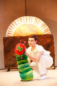 The Very Hungry Caterpillar and Jake Bazel.  Photo credit: Carol Rosegg.